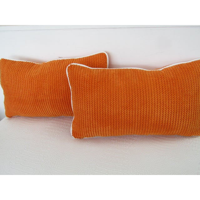 Orange Chenille Lumbar Pillows - A Pair For Sale - Image 4 of 6