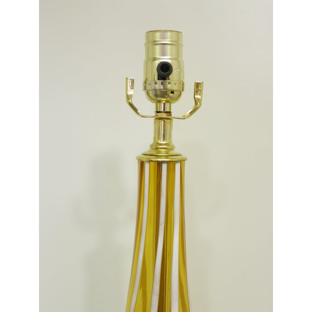 Italian Amber and White Striped Murano Glass Table Lamp Mid-Century Modern MCM For Sale - Image 5 of 11
