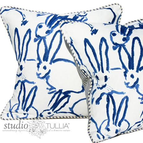Contemporary Bunny Fabric Hutch Navy Print Pillow For Sale - Image 3 of 6