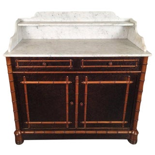 20th Century Hollywood Regency Carved Wood Faux Bamboo Two-Tier Marble-Top Cabinet For Sale