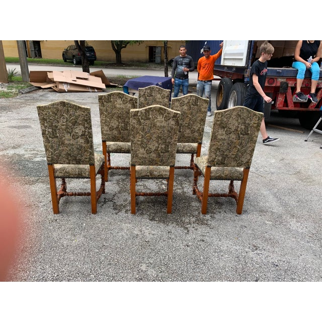 1900 - 1909 1900s French Louis XIII Style Solid Walnut Dining Chairs - Set of 6 For Sale - Image 5 of 13