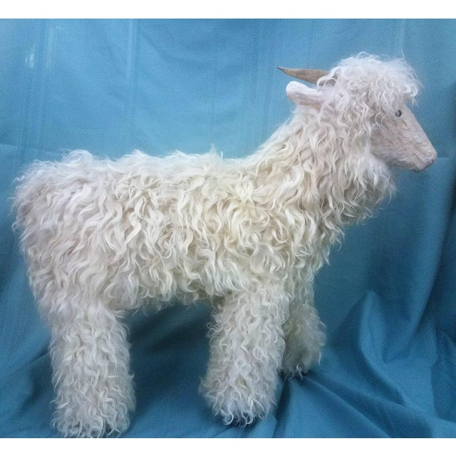 Large White Lamb Sheep in soft cream white wool fur. Made by Navajo Artist Ray Growler. He work is displayed in the...