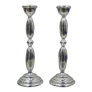 "Mariposa Silver Metal String of Pearls Candle Sticks - a Pair, 8"" For Sale"