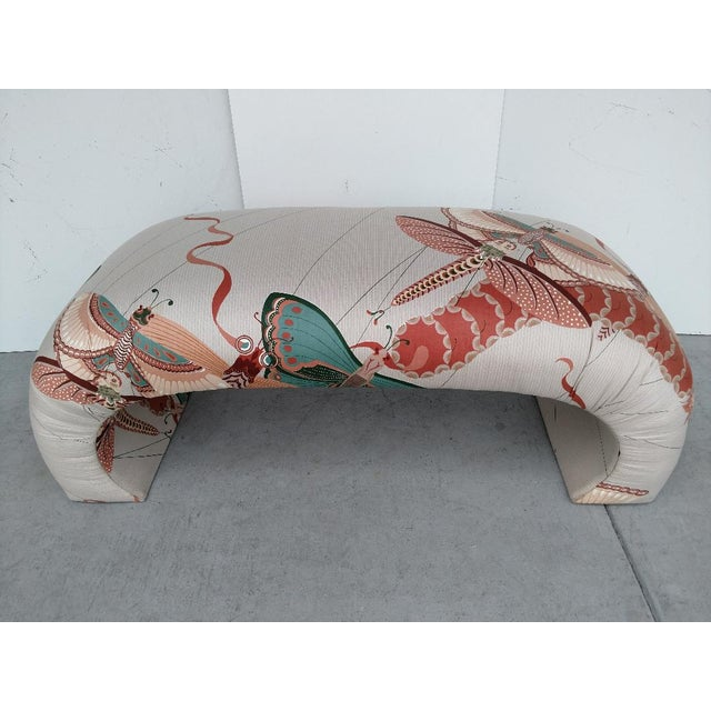 Asian 1970's Modern Asian Style Upholstered Bench For Sale - Image 3 of 12