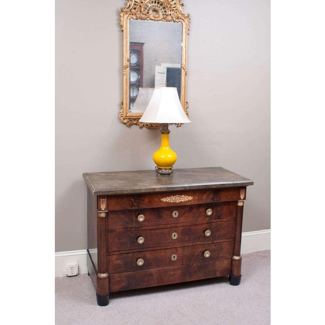 Wood Empire Commode with Faux Marble Top For Sale - Image 7 of 9