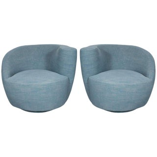 Pair of Mid-Century Modern Nautilus Chairs by Vladimir Kagan in Blue Twill