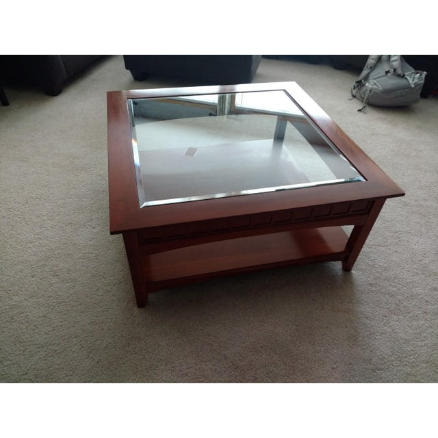 Ethan Allen Beveled Glass Coffee Table - Image 2 of 4