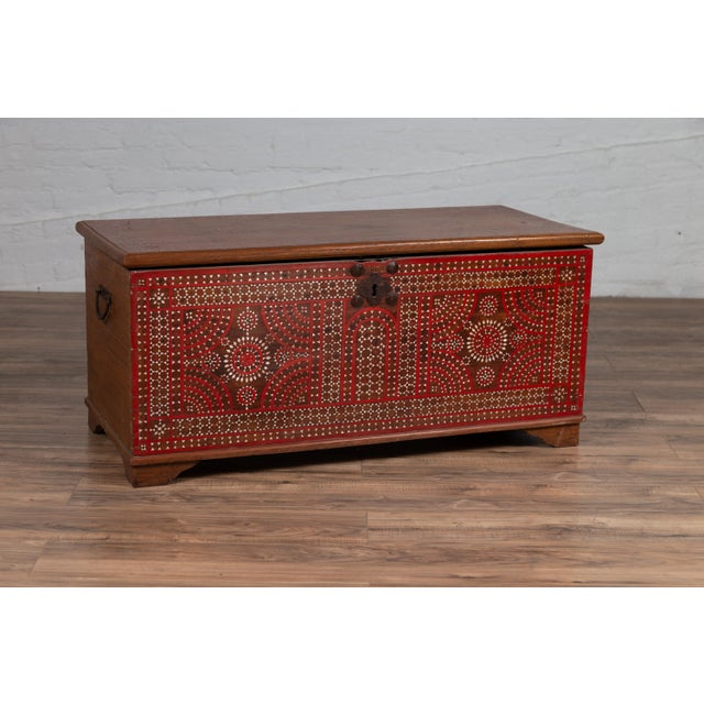 Antique Madura Blanket Chest With Inlaid Mother-Of-Pearl Red Geometric Decor For Sale - Image 4 of 13
