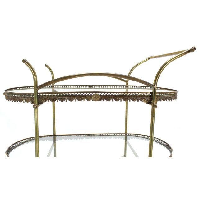 Two-Tier Brass Serving Cart Table with Removable Trays For Sale - Image 4 of 10