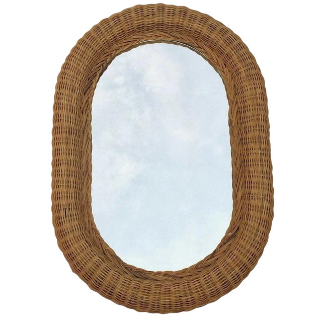 Vintage Natural Wicker Rattan Oblong Wall Mirror For Sale
