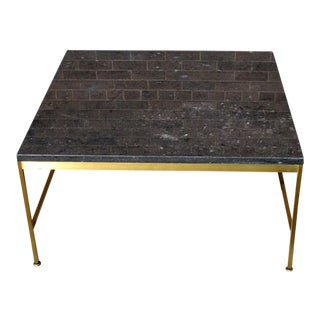 Paul McCobb Square Brass Frame Cocktail Table For Sale