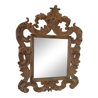 Vintage Baroque Style Carved Wooden Mirror For Sale