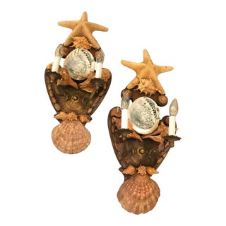 Vintage Shell & Starfish Electric Sconces - a Pair For Sale