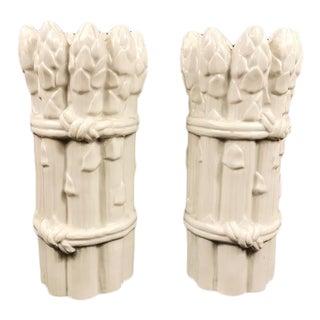 White Blance De China Porcelain Asparagus Candleholders - a Pair