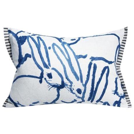 Bunny Fabric - Hutch Print Navy - Hunt Slonem - Lee Jofa - Groundworks - Lumbar For Sale