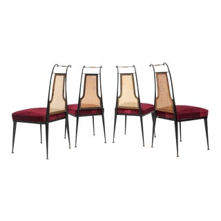 Neoclassical Ruby Red Velvet Dining Chairs Set of 4 by Arturo Pani Mexico 1950s For Sale