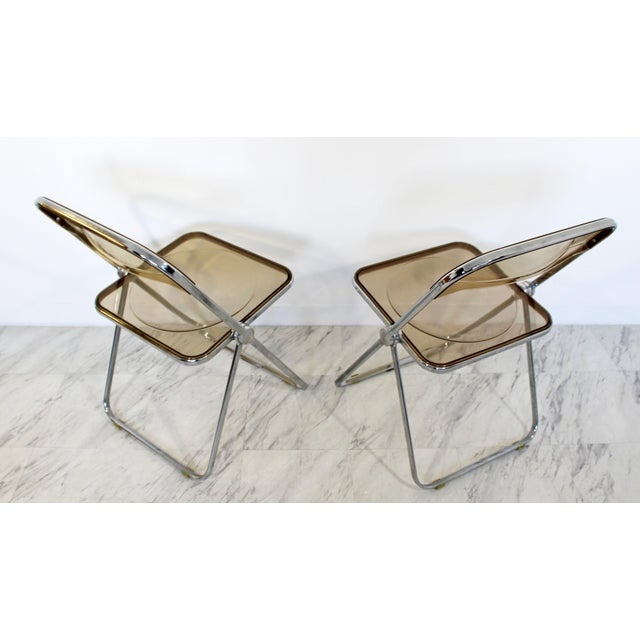Chrome 1960s Castelli Mid Century Modern Smoked Lucite Folding Chairs Italy - Set of 10 For Sale - Image 7 of 12