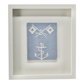 Framed Vintage Nautical Textile Anchor & Flags For Sale