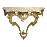 Image of 1900s French Louis XV Wall Mounted Carved Wood Marble Top Console Table For Sale