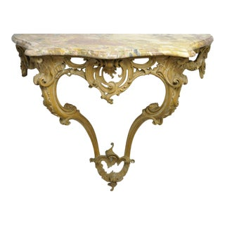 1900s French Louis XV Wall Mounted Carved Wood Marble Top Console Table For Sale