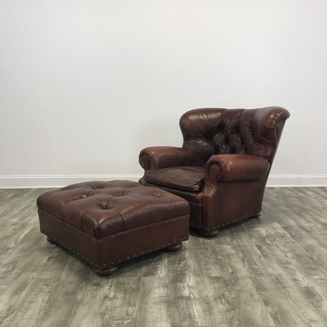High Quality Tufted Genuine Leather Winged Club Chair And Ottoman Set By Ralph Lauren