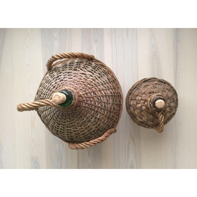 Vintage French Country Wicker Wrapped Demijohns With Handles - a Pair For Sale - Image 4 of 9