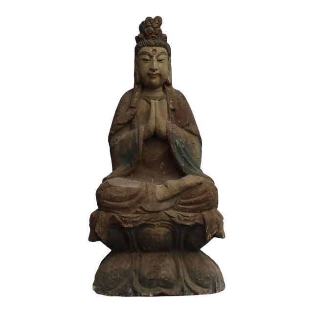 Handcrafted Chinese Distressed Finish Wood Bodhisattva Statue For Sale