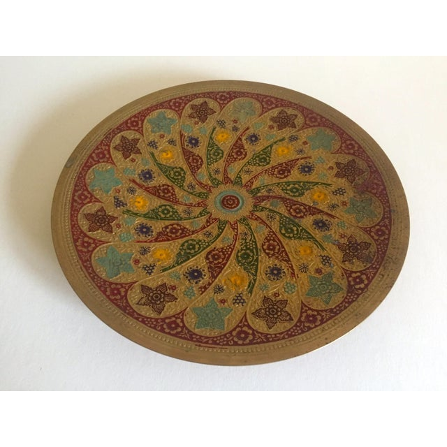 Vintage Moroccan Multicolored Enameled Brass Relief Plate For Sale - Image 5 of 9