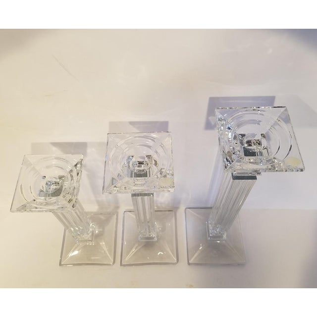 A stunning statement set of 3 lead Czech crystal candle holders by Shannon Crystal a Division of Waterford. The body of...