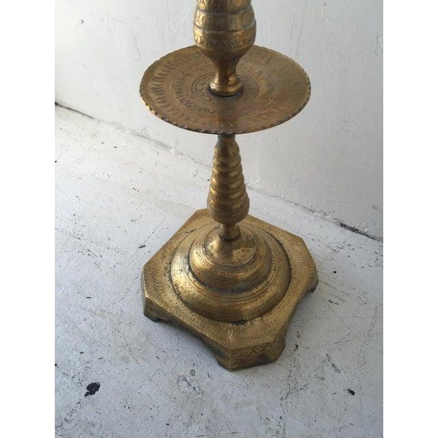 Brass Boho Floor Candleholder For Sale - Image 5 of 5