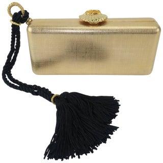Elizabeth Arden Gold Metal Box Clutch Handbag Circa 1980 For Sale