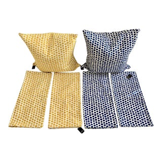 Jim Thompson Yellow & Blue Pillow Covers - Set of 6 For Sale