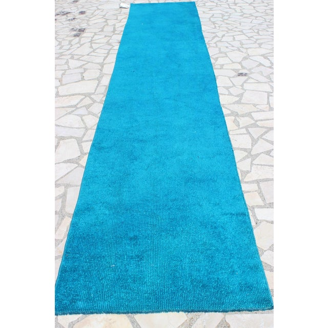 Oushak Over-Dyed Turquoise Runner - 2′10 X 14' - Image 2 of 8