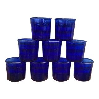 Vintage French Cobalt Blue 10 Panel Short Tumbler Glasses - Set of 9 For Sale