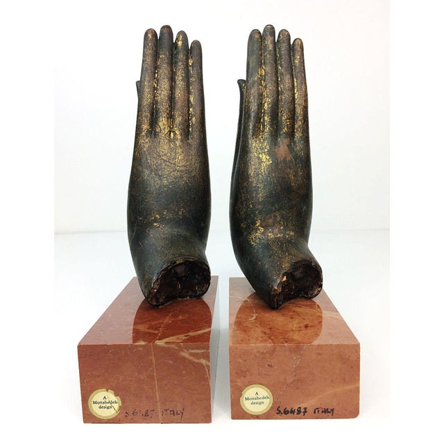 Mottahedeh Italian Bronze Hand & Marble Bookends-A Pair - Image 5 of 8