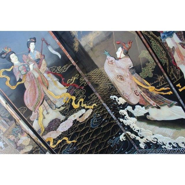 Vintage Asian Ebony Lacquer Folding Screen - Image 7 of 10