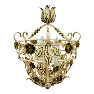 Vintage Hollywood Regency Style White & Gold Tole Pendant Chandelier For Sale
