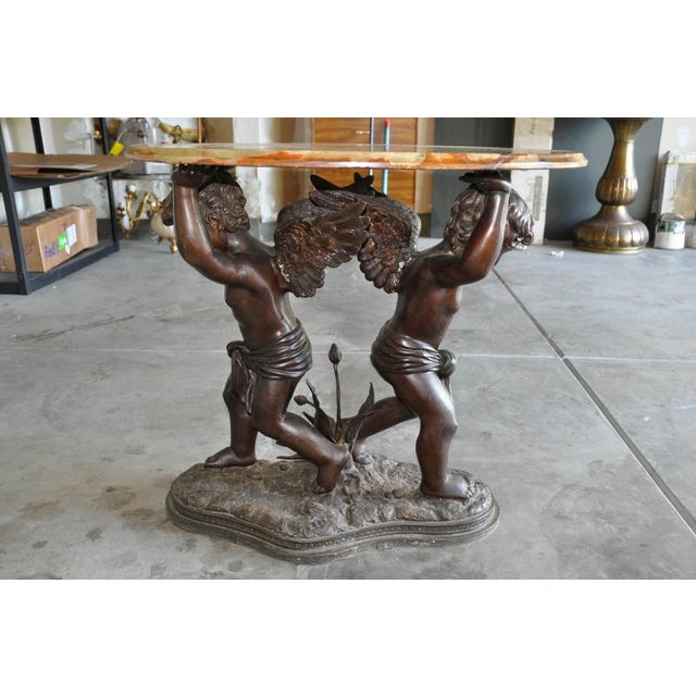 Auguste Moreau Green Onyx Top & Bronze Sculpture Base Center Table For Sale - Image 4 of 7