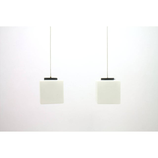 Pair of Milk Glass Cube Pendants by Stilnovo, Italy, 1960s For Sale - Image 6 of 8