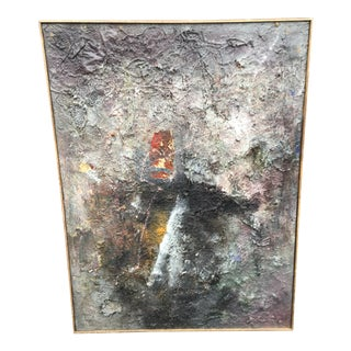 """Tall Abstract """"Summer 1988"""" Gray Mixed Media Painting by Louis Papp For Sale"""
