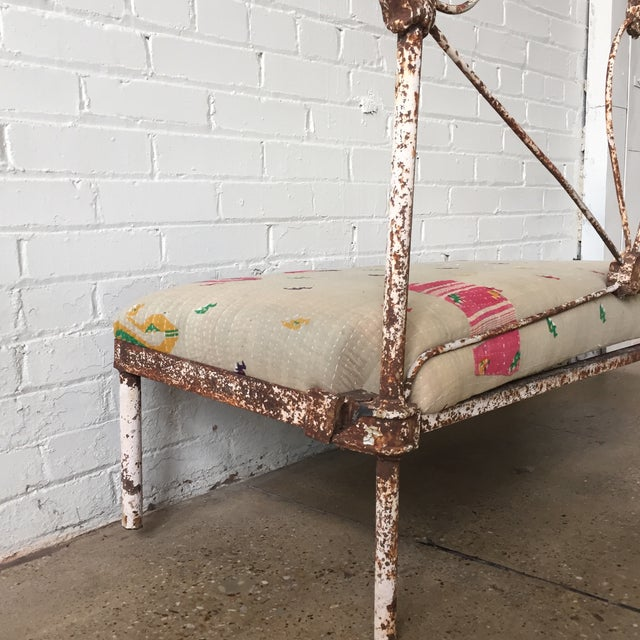 Small Iron and Kantha Bench For Sale In Dallas - Image 6 of 8