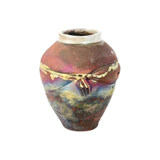 Copper Matte Raku Vessel For Sale