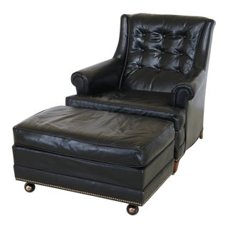 Sherrill Black Leather Club Chair & Ottoman For Sale