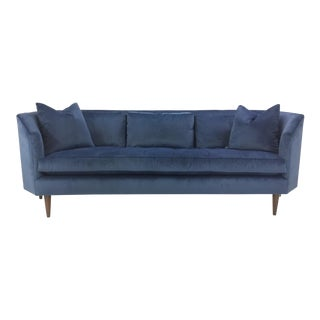 Blue Velvet Celerie Kemble for Henredon Asscher Sofa For Sale