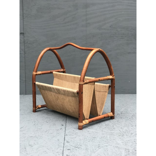 Bamboo 1960s Vintage Bamboo Canvas Magazine Holder For Sale - Image 7 of 7
