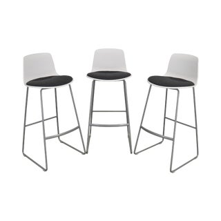 Steelcase Coalesse Enea Lottus Set 3 Sculpted Sled Bar Stools For Sale