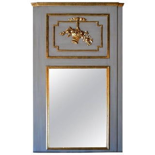 Louis XVI Style Large Painted With Gilt Accent Trumeau Mirror For Sale