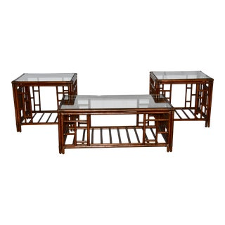 1980s Vintage McGuire Style Bamboo Rattan Glass Top Tables- Set of 3 For Sale