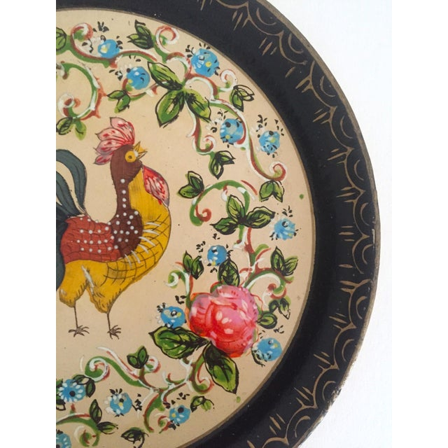 Blue Vintage 1940's Japanese Hand Painted Rooster Decorative Plates - A Pair For Sale - Image 8 of 11