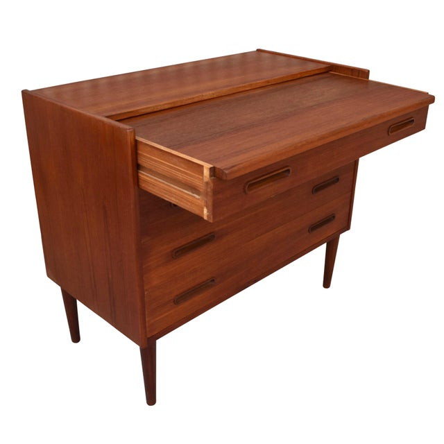 Danish Modern Teak Vanity Dresser For Sale - Image 9 of 10